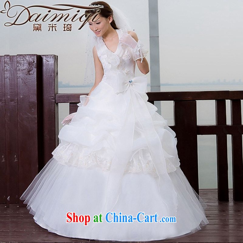 Diane M Ki wedding dresses new 2014 Korean style sweet Princess lace three-dimensional roses wedding white XXL