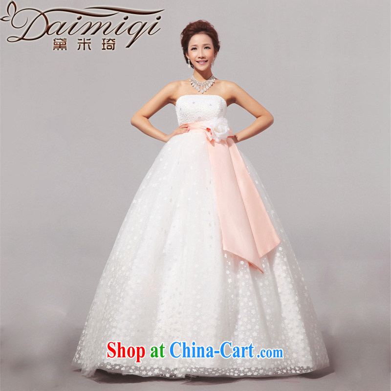 Diane M Qi 2014 new sweet pregnant larger Korean wedding wedding dress wiped chest wedding white XXL
