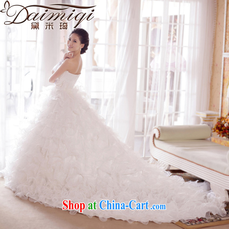 Diane M Ki Korean romantic/bare chest lace/tail/marriages/wedding dresses 2014 new wedding tails, XL