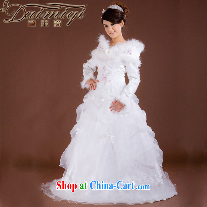 Diane M Ki winter wedding a Field shoulder long-sleeved pregnant women to wear cotton wedding thick warm wedding dresses white waist 2 feet 4