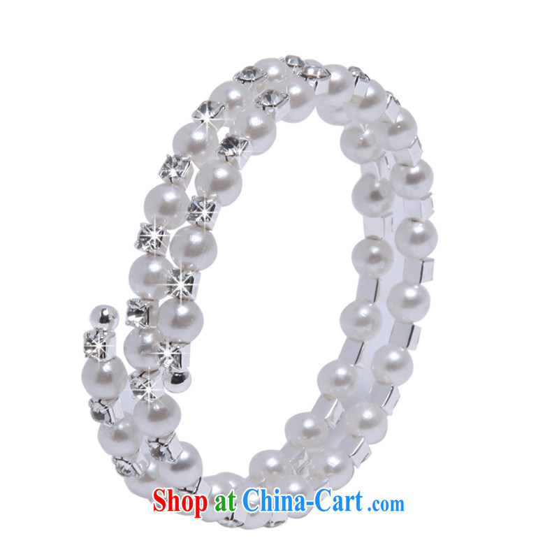 MSlover stylish spiral multi-layer Pearl elastic charm bridal bracelets bracelets wrist jewelry bridal jewelry B 130,803 silver 5 row, name, Mona Lisa (MSLOVER), shopping on the Internet