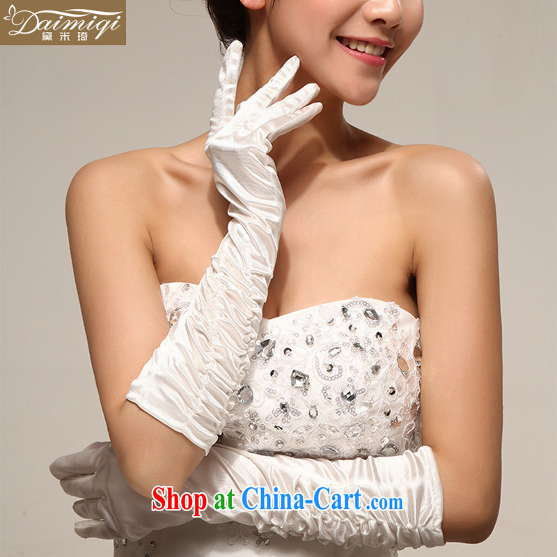 Diane M Ki show photo building photo wedding/Satin long gloves/M/white/red/sunscreen UV resistant gloves