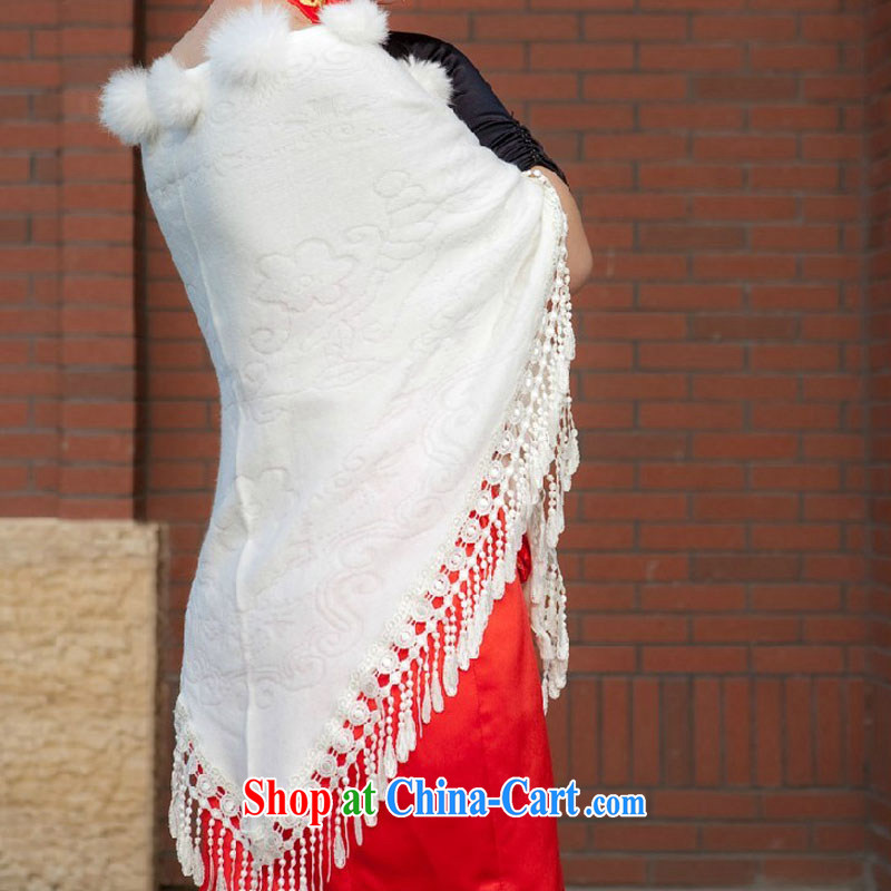 2014 fall/winter new marriages wedding dresses bridal jacket multi-colored red hair shawl white