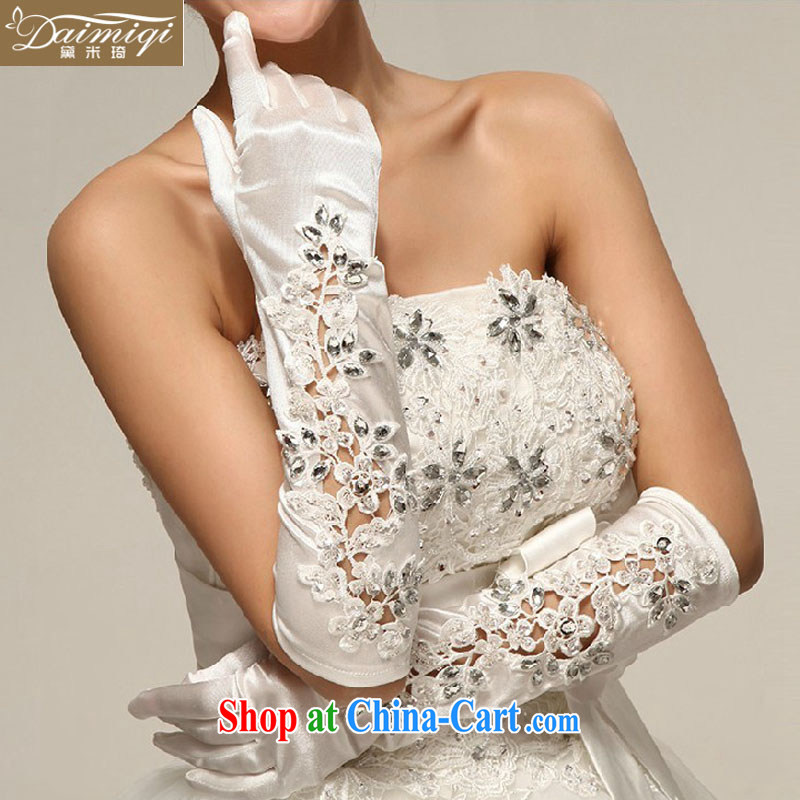 Bridal gloves wedding gloves Korean-style lace diamond jewelry long full means marriages gloves gloves