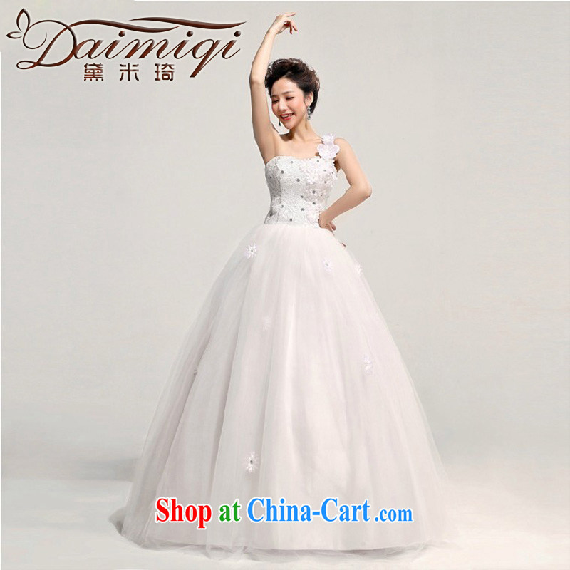 Diane M Qi 2014 new Korean Princess bride single shoulder flowers water drilling with wedding dresses larger pregnant custom white XXL