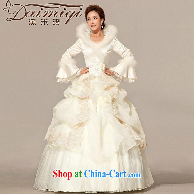 M Ki winter wedding Princess bridal long-sleeved with wedding ...