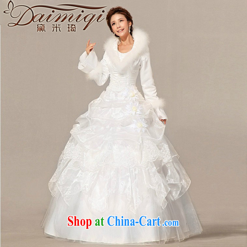 Diane M Ki wedding dresses new 2014 winter wedding dresses with hair style Korean long-sleeved the cotton wedding white XXL