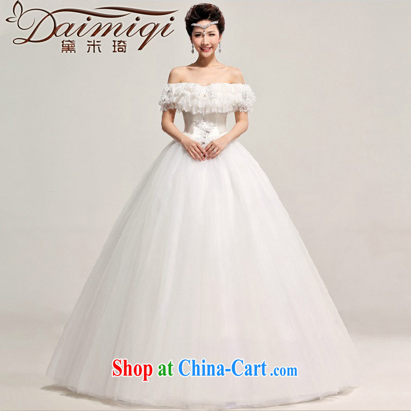 wedding dresses Korean tie-brides field shoulder wedding dresses with large code wedding marriage Wedding Video thin white XXL