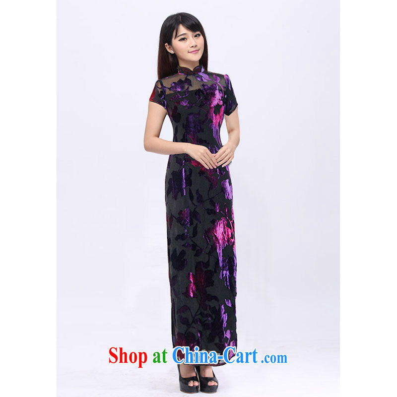 Royal Hong Kong cheongsam custom summer stylish short-sleeved long Mrs Jurchen black velvet flower pin cheongsam dress 201,527 black XXXL