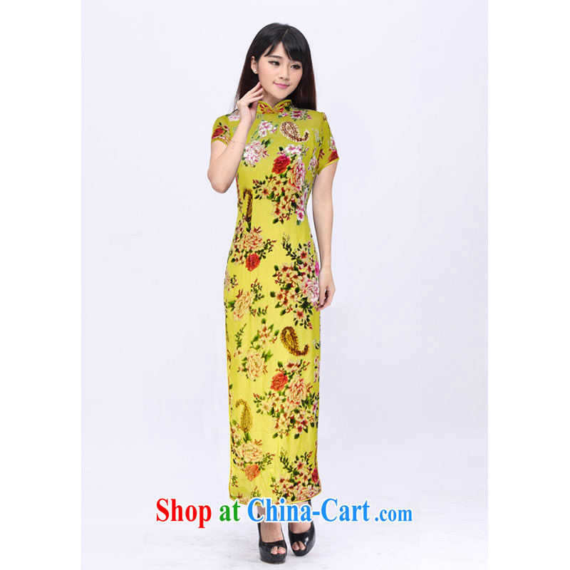 High summer dresses skirts Long, Mrs Jurchen black velvet flower pin cheongsam custom 201,526 D yellow XXXL