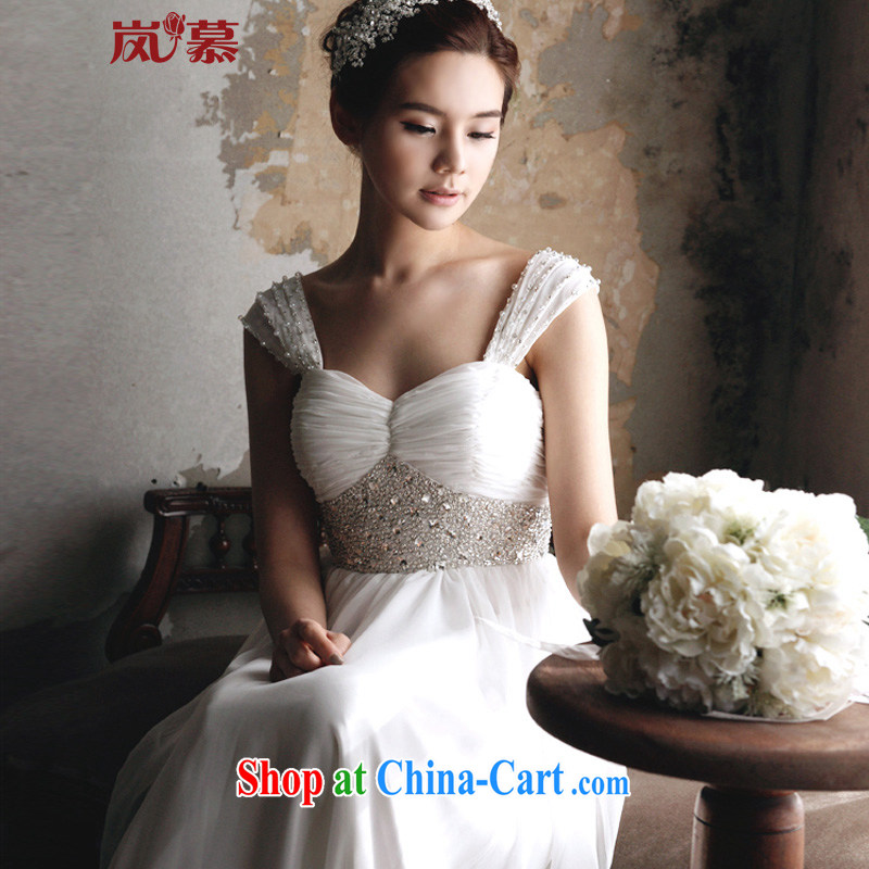LAURELMARY sponsors the 2015 new cultivating the waist snow woven small tail wedding dresses plain white _as shown_, L _B - 90_W - 74_