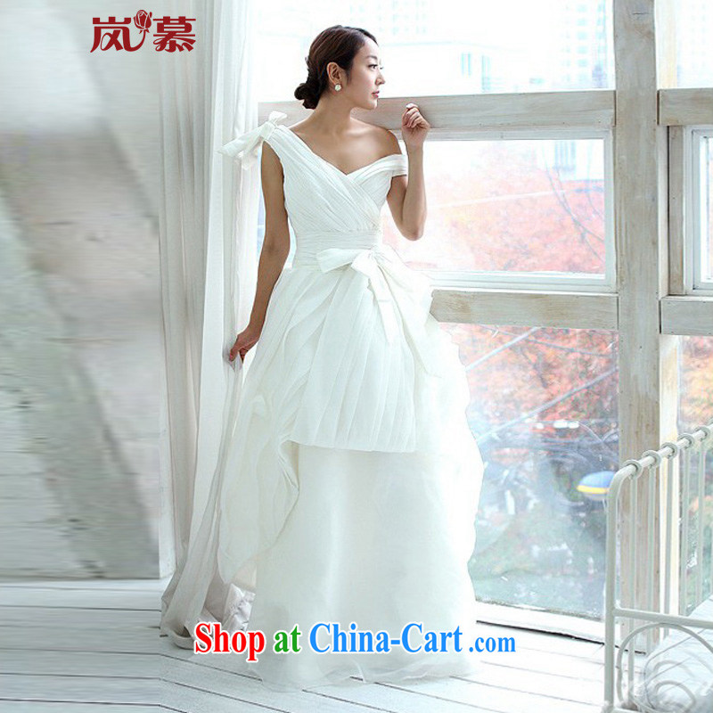 LAURELMARY sponsors the 2015 new Wang Pico style Korean Deep V collar high-waist beauty style wedding dresses white XXL (B = 100/W = 84)