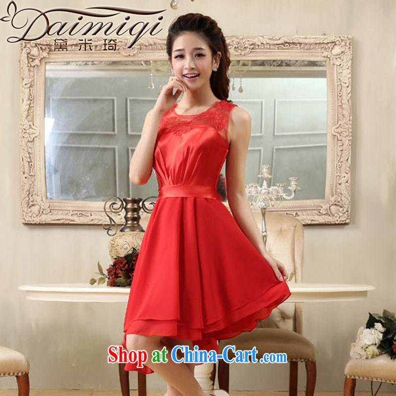 wedding dresses Red double-shoulder small dress short dress ballet division, stitching dress dress dress bridal toast serving the door service red XXL