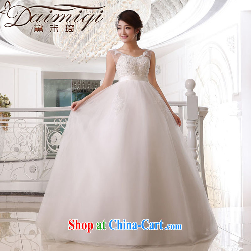 Diane M Ki wedding dresses new shoulders with wedding mine, stitching and stylish white wedding with shaggy wedding erase chest wedding white XXL