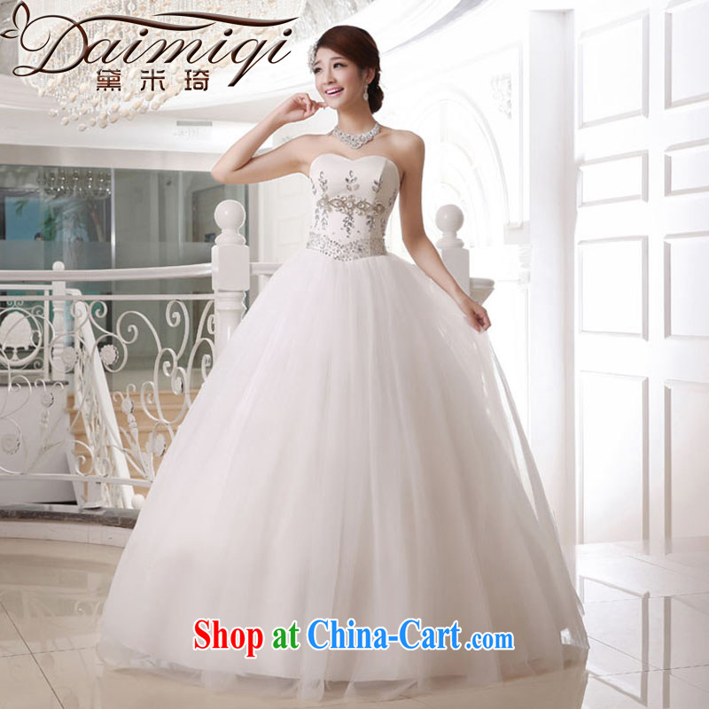 Diane M Ki wedding dresses new 2014 wiped his chest, wedding Deluxe parquet drill Princess wedding white XXL