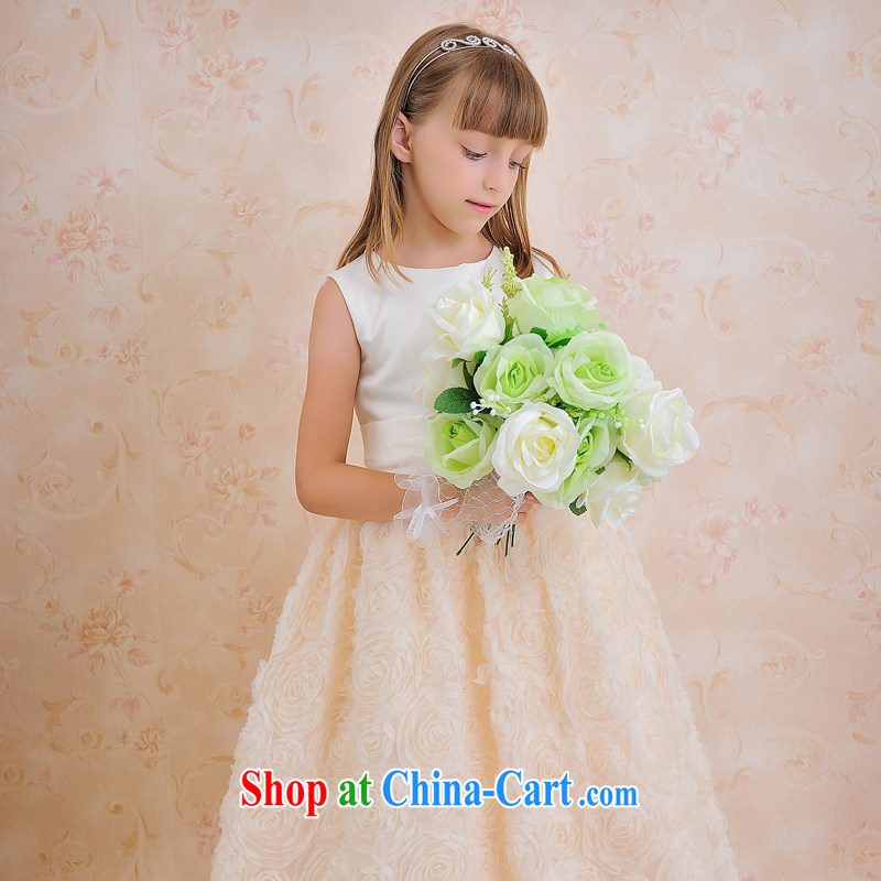 Moon 珪 guijin, click children's wear dress Children's concert dance serving serving champagne color flowers skirt with T 63 white + champagne color 10, scheduled 3 Days from Suzhou shipping