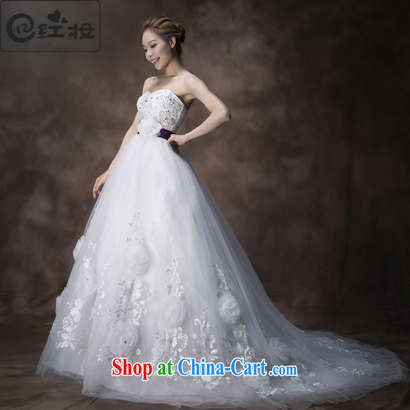Recall that the red makeup spring and summer Korean-style Deluxe Big-tail flowers wedding wood drill erase chest lace Princess bridal wedding dresses 2015 H 13,742 white M