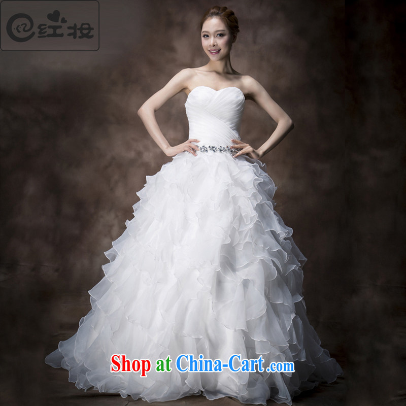 Recall that the red makeup summer wedding dresses 2015 new Korean-style chest bare wood drill Princess bride verawang retro small tail H 13,738 white XL
