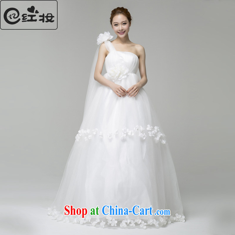 Recall that the red makeup summer Korean fashion the shoulder with flowers to bind with high waist wedding marriage larger pregnant women to wear 2015 new H 13,736 white XL