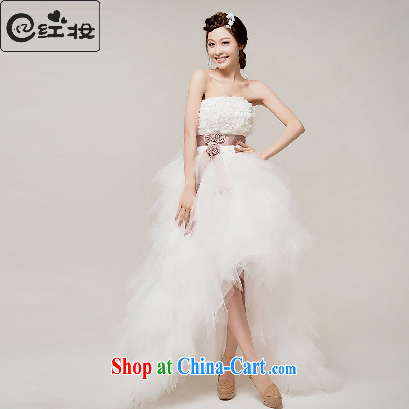 Recall that the red makeup summer 2015 new Korean sweet Princess tie-Front short long after the tail end crowsfoot wedding dresses H 12,097 white M