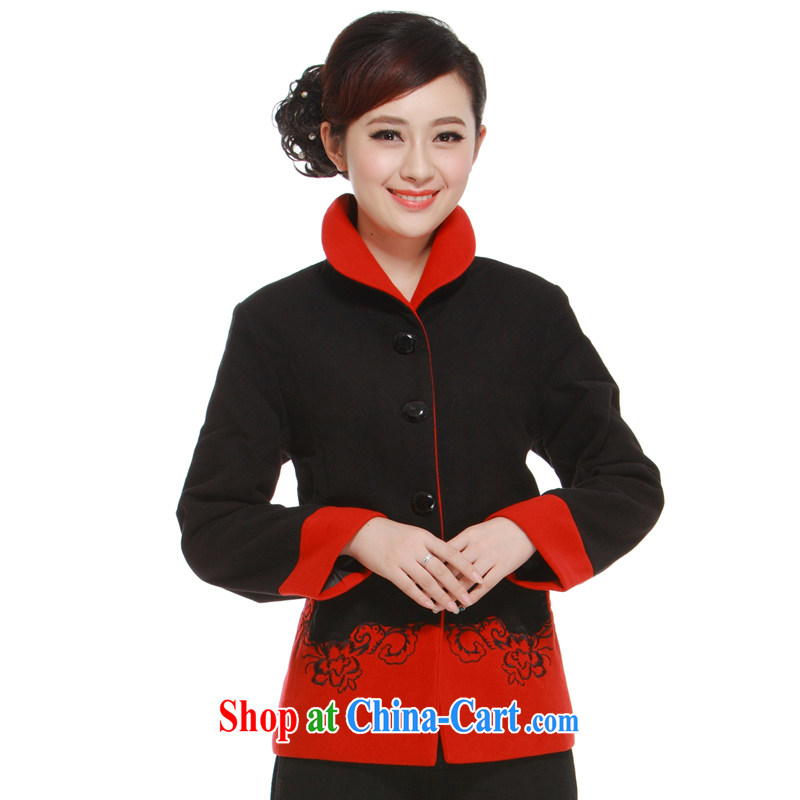 Spring and Autumn 2014, What gross jacket Chinese jacket, Ms. gross, so for an elegant atmosphere slim Li know QW 319 black XXXL