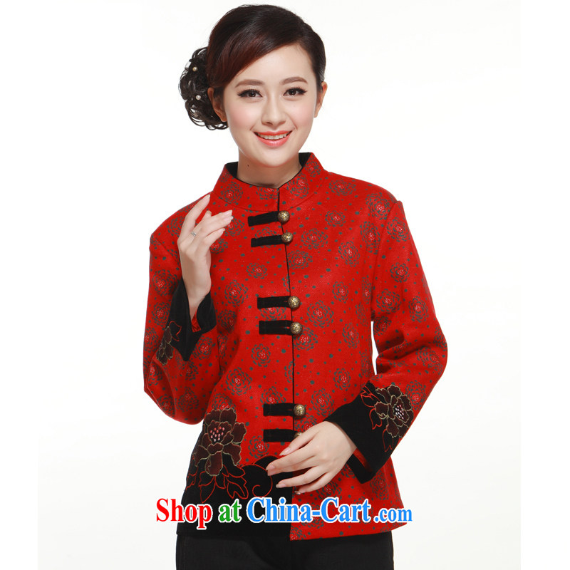 2013 Spring and Autumn and stylish Peony decorative coin Chinese gross Ms.? jacket T-shirt slim Li know QW 320 red XXXL