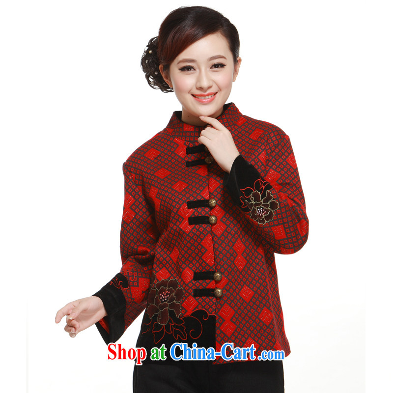 2014 new diamond pattern with short T-shirt, improved fashion? jacket slim li know QW 322 wine red XXXL