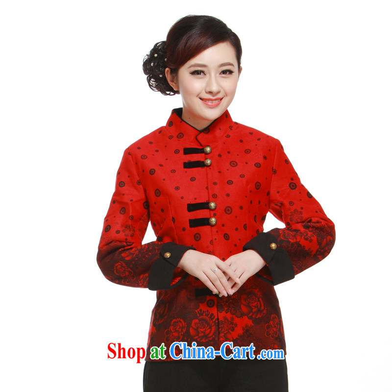 2014 Chinese T-shirt, new, 2-color into the stylish and improved short high-end gross jacket? The li know QW 323 red XXXL