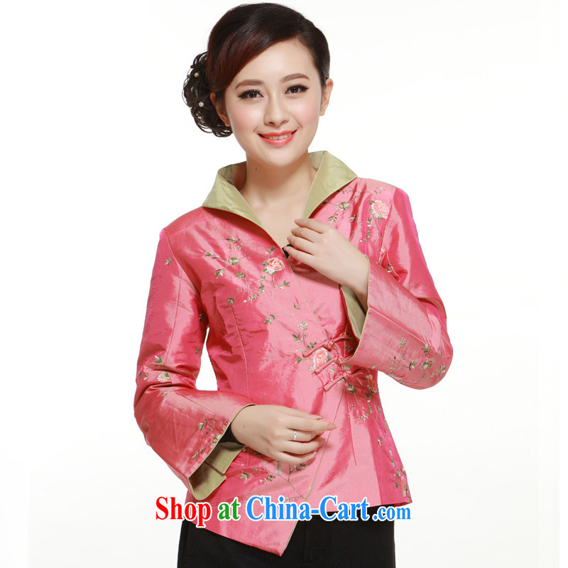 Slim li know 2015 new pink 3a snap-snap up style improved Chinese shirt Ms. slim Li know QN 2961 pink XXXL