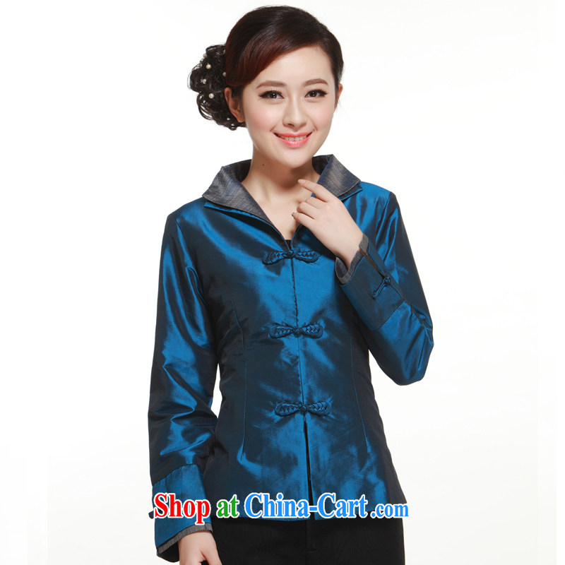 2014 new Chinese, Ms. 3 piece snap-up collar Solid Color damask shirt slim Li blue XXXL