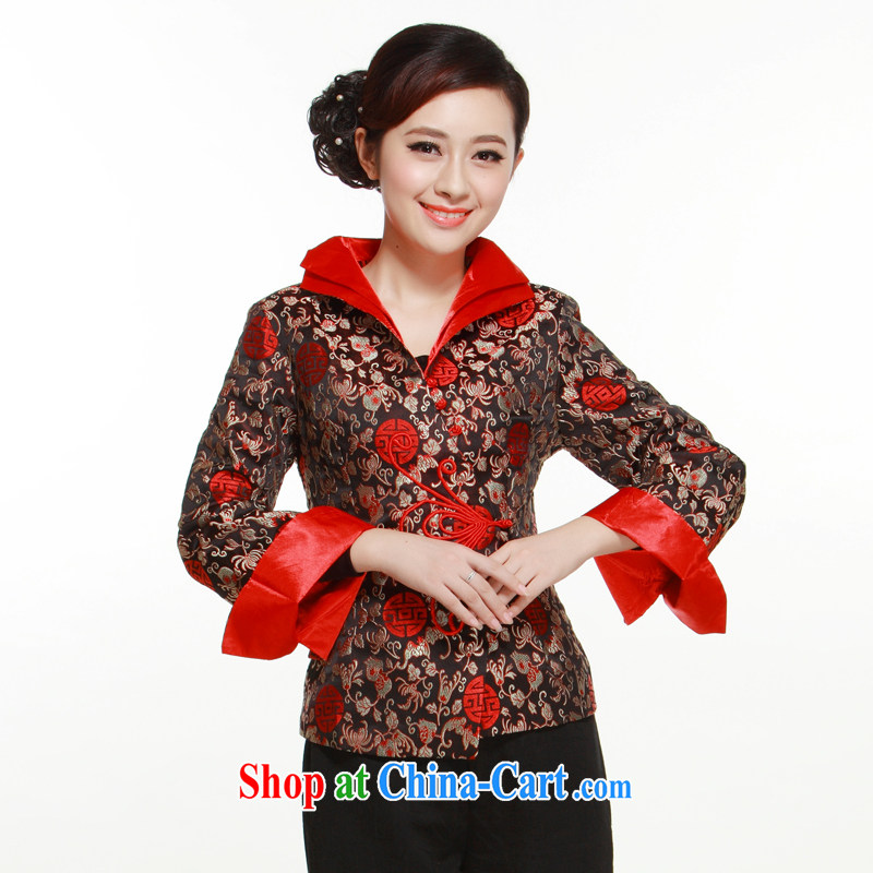 The slim li know as soon as possible standard 2015 brocade coverlets Tang replace Ms. spring loaded T-shirt Chinese long-sleeved dress jacket coin black XL