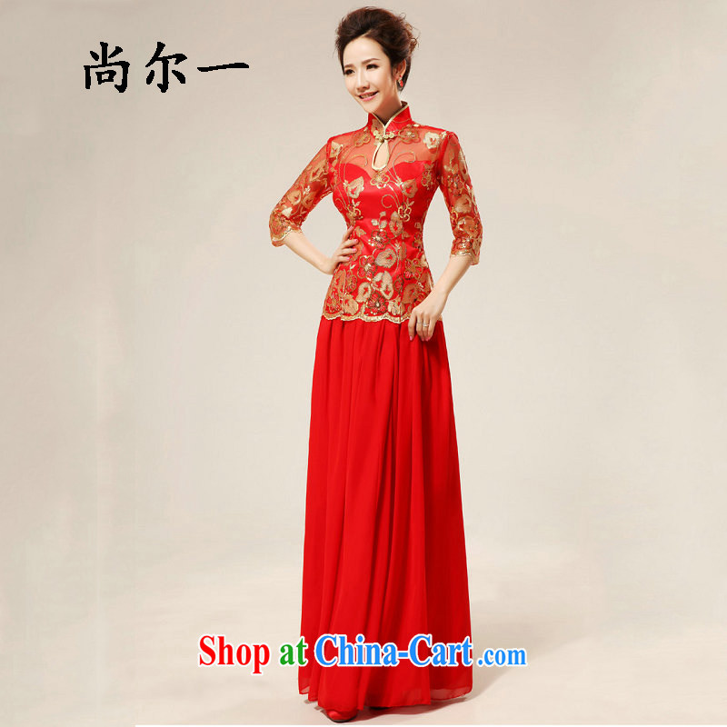 Taiwan's new red retro sexy lace cheongsam stylish upgraded cuff toast qipao cheongsam XS 1980 red XL