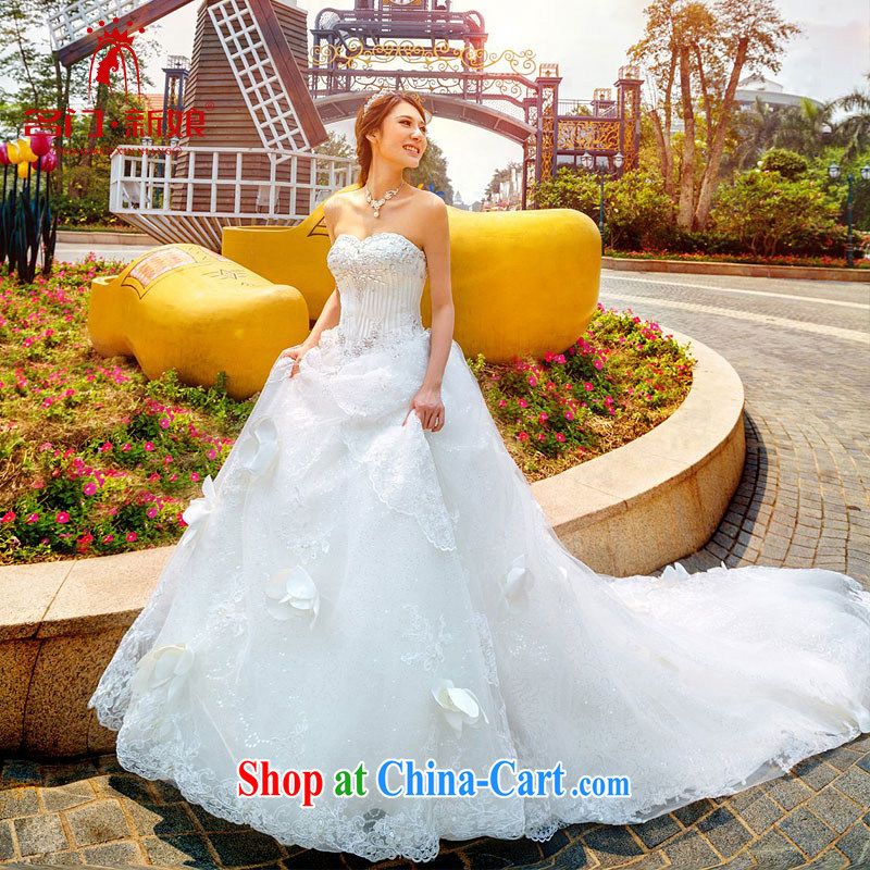 The bride's wedding dresses new Korean Princess Deluxe wipe chest long-tail wedding A 997 white L