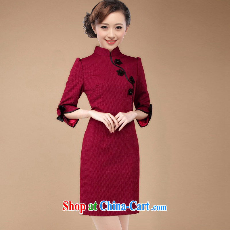 Slim li know 2015 spring new OL commuter retro elegant qipao 7 cuff dress D 82 large code 003 QW R wine red L