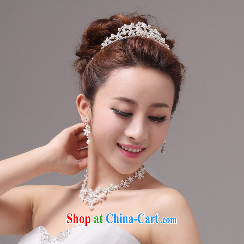 MSLover Daisy dumping the bustling Pearl crystal bridal Crown Kit link marriage jewelry wedding accessories kit S 130,812 silver crown necklace earrings 3 piece _clips_