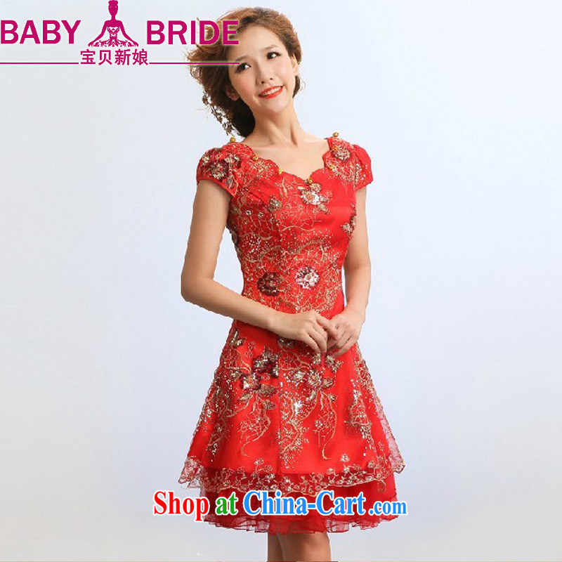 Baby bridal 2013 new, improved cheongsam stylish summer performances performances serving serving marriages red toast serving red waist measure 9