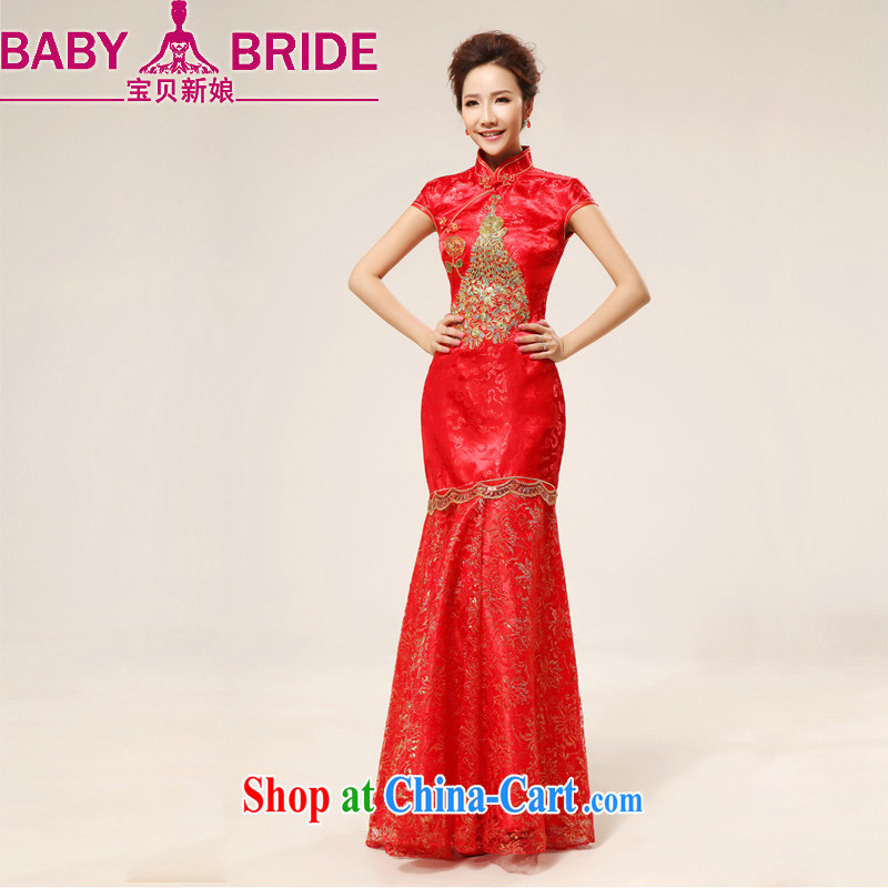 Baby bridal China wind red long, sexy lace bridal wedding wedding dresses cheongsam uniforms serving toast red waist 2 feet 4