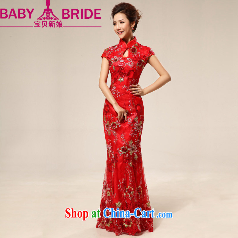Baby bridal 2014 New Red China wind long sweet lace flowers, bridal wedding dresses red waist 2 feet 4