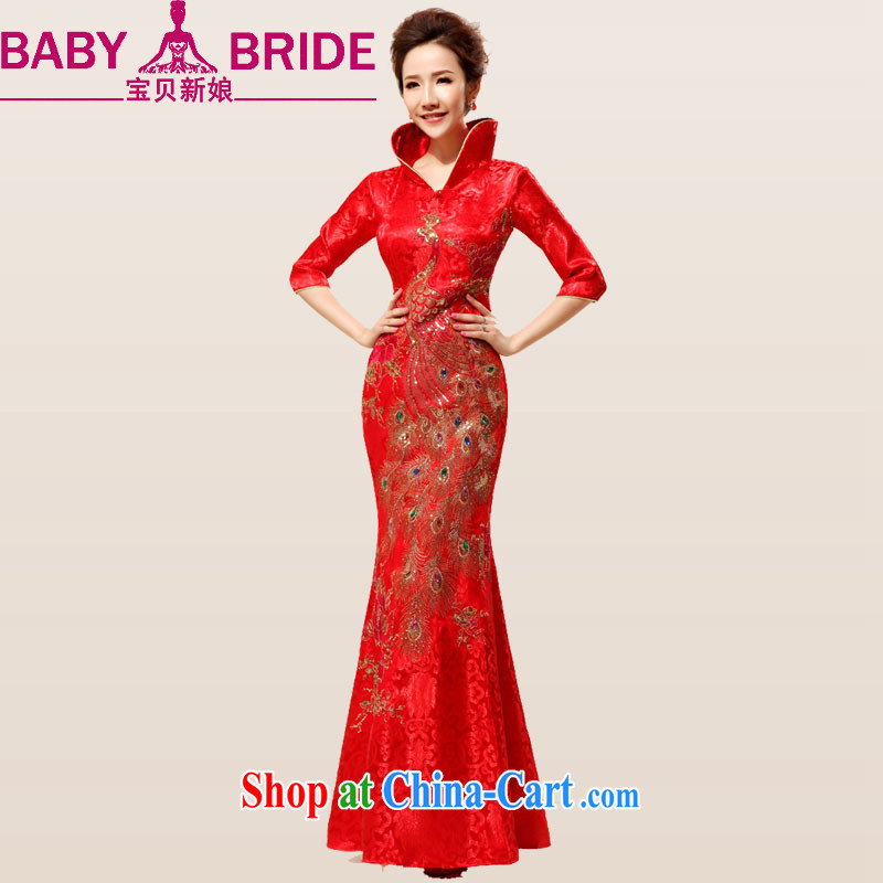 Baby bridal Red China wind luxury light drill Phoenix opera Peony embroidery bridal wedding wedding dresses long dresses red waist 2 feet 4