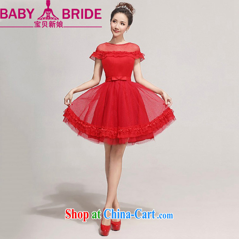 Baby bridal 2014 new bride bridesmaid dresses small sweet fairy tale Princess short wedding short evening dress red waist 2 feet 4