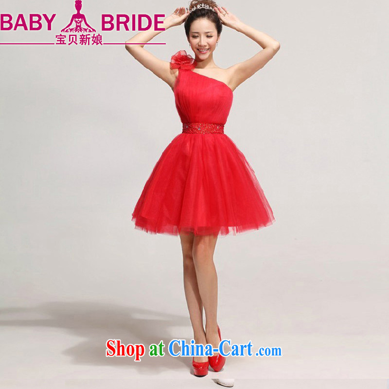 Baby bridal 2014 new bride toast serving the shoulder short bridesmaid dress Korean single shoulder flowers wedding dresses red waist 2 feet 4