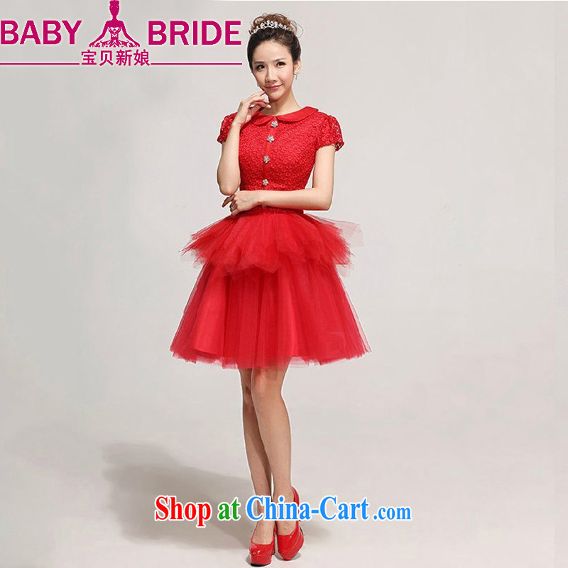 Baby bridal bridal wedding dress red lace short bows service bridesmaid wedding evening gown red XXL