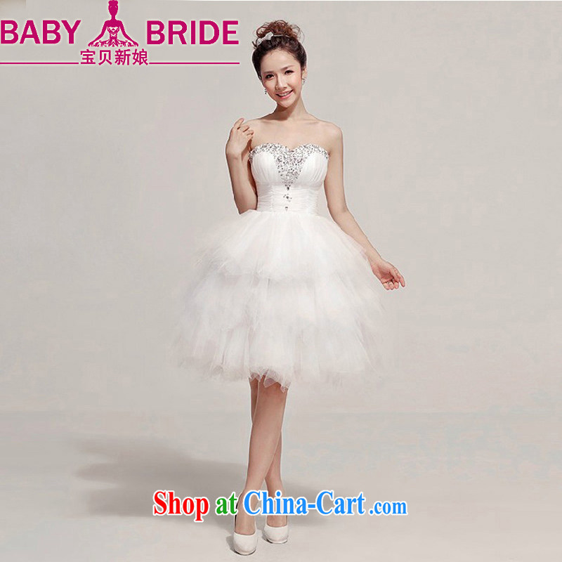 Baby bridal 2014 summer new bride wedding dress wiped chest parquet drill short bridesmaid dresses small white XXL
