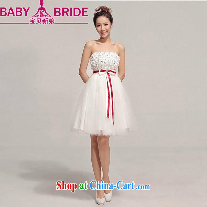 Baby bridal bridesmaid short small dress skirt wipe chest short skirts shaggy dress bridesmaid dress Korean Sisters dress bridesmaid clothing white XXL