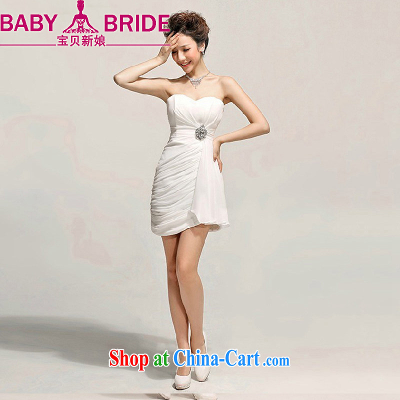 Baby bridal beauty Sin toast clothing evening dress bridesmaid dress short, small Princess Mary Magdalene dress chest dresses Korean white XXL