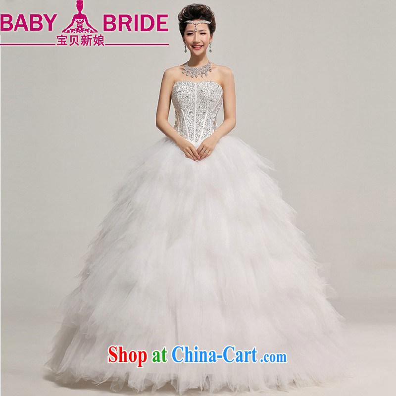 Baby bridal winter wedding Korean wedding dresses 2014 New Deluxe parquet shallow V for pregnant women wedding white XXL