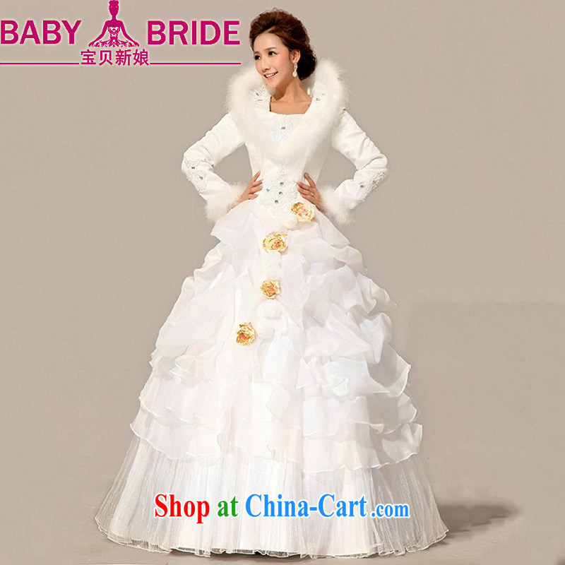Baby bridal wedding dresses 2014 new bride winter wedding hair collar cotton wedding warm long-sleeved cotton wedding white XXL