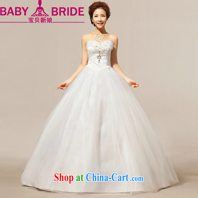 Baby bridal spring and fall new 2014 outdoor minimalist clean bare chest Korean version of thin crystal the Pearl, with wedding dresses white XXL