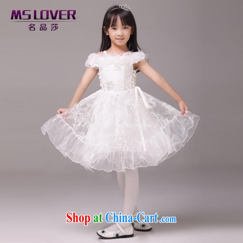 MSLover retro court field shoulder girls Princess dress children dance stage dress wedding dress flower girl dress 8826 white 4