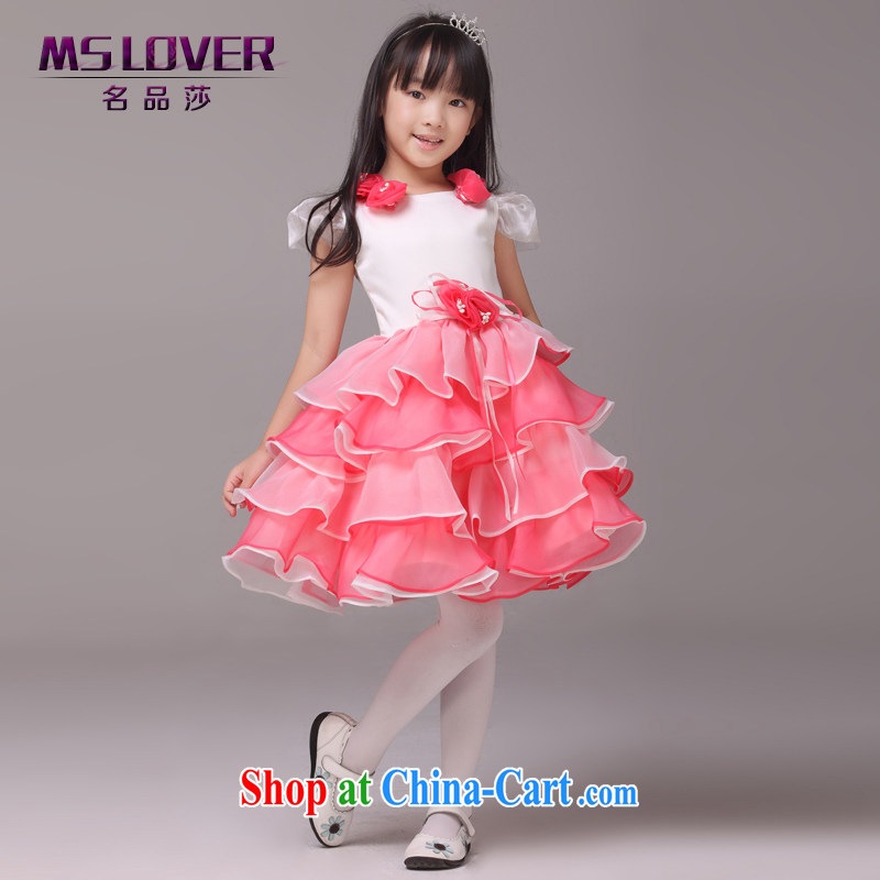 MSLover bubble flower cuff shaggy skirts girls Princess dress children dance stage dress wedding dress flower girl dress 8831 melon red 4